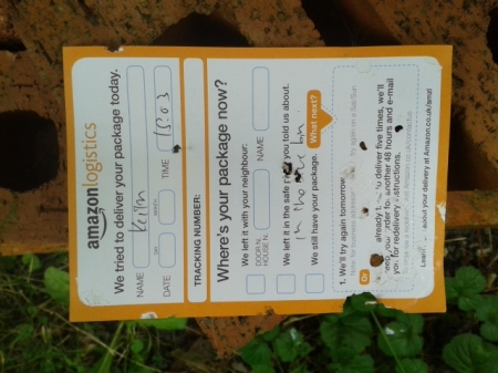 calling card left by Amazon Logistics