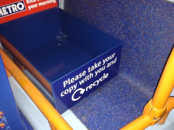 Metro bin in luggage compartment